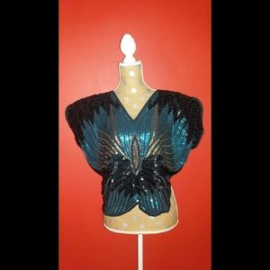 Vintage 1980's Sequin Butterfly Blouse